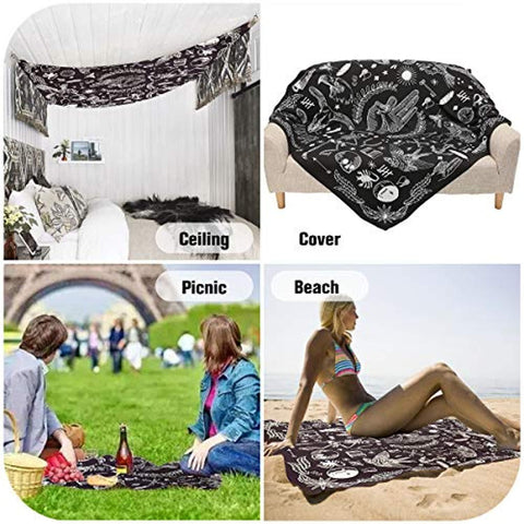 Image of Jeteven Polyester Hanging Tapestry Wall Hanging Blanket Bedspread Beach Towels Picnic Mat Home Decor 165x148cm