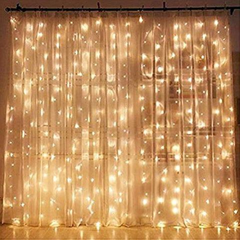 Image of Twinkle Star 300 LED Window Curtain String Light for Wedding Party Home Garden Bedroom Outdoor Indoor Wall Decorations (Warm White)