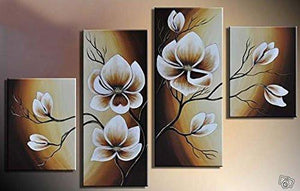 100% Hand-painted Wood Framed Oil Wall Art Warm Day Yellow Flowers Bloom Home Decoration Abstract Floral Oil Painting on Canvas 4pcs/set Mixorde - zingydecor