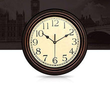 Load image into Gallery viewer, Bekith 12-Inch Round Classic Clock Retro Non Ticking Quartz Decorative Wall Clock - zingydecor