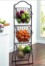 Load image into Gallery viewer, Gourmet Basics by Mikasa 3-Tier Metal Market Basket, Antique Black - zingydecor