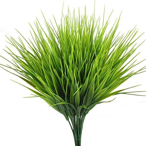 Artificial Plants, Hogado 4pcs Faux Plastic Wheat Grass Fake Leaves Shrubs Simulation Greenery Bushes Indoor Outside Home Garden Office Verandah Wedding Decor - zingydecor