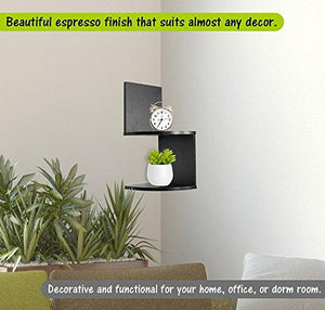 Greenco Modern Design 2 Tier Corner Floating Shelves, Espresso - zingydecor