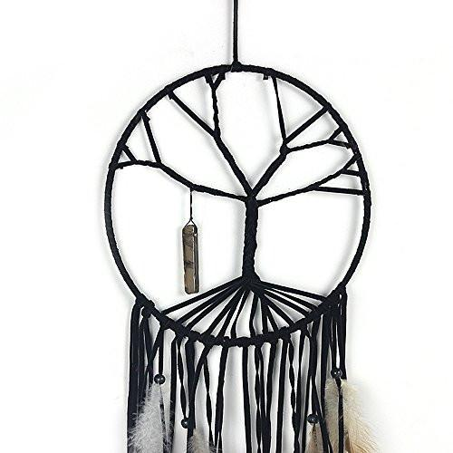 Handmade Beaded Feather Natural Stone Hanging The Tree of Life Dream Catcher Home Decor