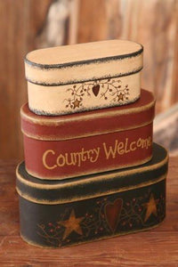 Your Hearts Delight 7-3/4 by 3-1/2-Inch Country Welcome Nesting Boxes, Large - zingydecor