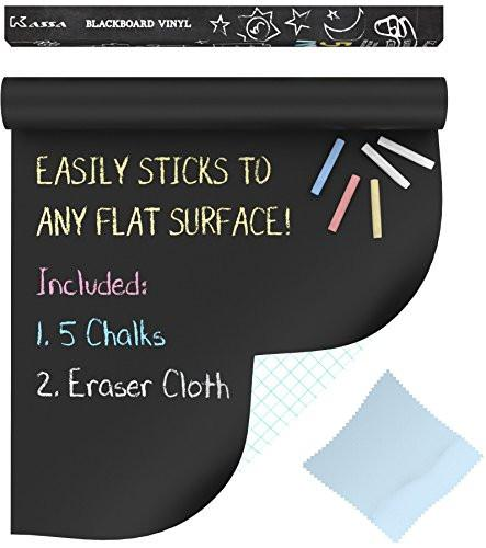 "Extra Large Chalkboard Decal Roll By Kassa (Black) 5 Colored Chalk & Eraser Cloth Included - Blackboard Contact Paper Vinyl Chalk Board Paint Alternative (6.5' x 18"") Classroom Decor Wall Sticker"