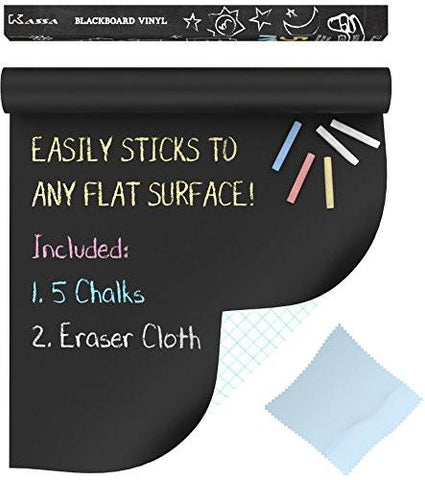 "Image of Extra Large Chalkboard Decal Roll By Kassa (Black) 5 Colored Chalk & Eraser Cloth Included - Blackboard Contact Paper Vinyl Chalk Board Paint Alternative (6.5' x 18"") Classroom Decor Wall Sticker"