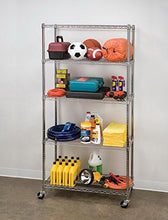 "Load image into Gallery viewer, Seville Classics 5-Tier UltraZinc NSF Steel Wire Shelving /w Wheels, 18"" D x 36"" W x 72"" H - zingydecor"