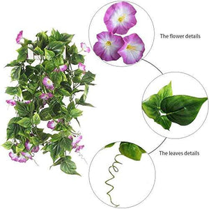 Artificial Vines, 2pcs 15Feet Morning Glory Hanging Plants Silk Garland Fake Green Plant Home Garden Wall Fence Stairway Outdoor Wedding Hanging Baskets Decor Purple - zingydecor