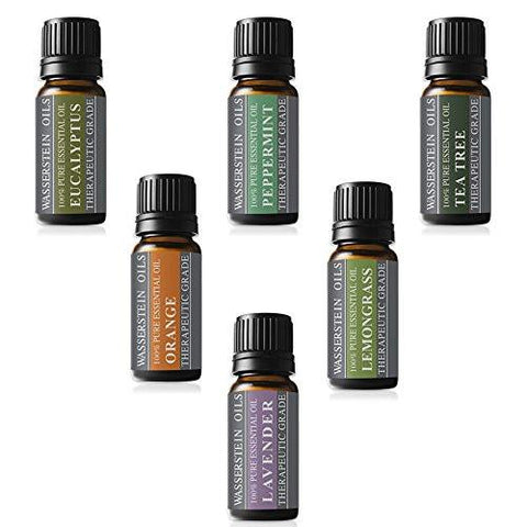 Image of Aromatherapy Top 6 Oils 100% Pure Therapeutic Grade Basic Essential Oil Gift Set- 6x10 ML by Wasserstein (Lavender, Tea Tree, Eucalyptus, Lemongrass, Orange, Peppermint) - zingydecor