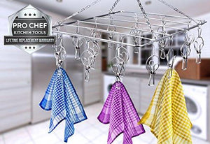 Laundry Clothesline Hanging Rack for Drying Clothing Set of 18 Stainless Steel Clothespins Rectangle PCKT