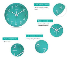 Load image into Gallery viewer, SonYo Indoor Non-Ticking Silent Quartz Modern Simple Wall Clock Digital Quiet Sweep Movement Office Decor 10 Inch(Bluegreen) - zingydecor