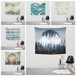 Xinhuaya Sunset Forest Ocean and Mountains Wall Hanging Tapestry with Romantic Pictures Art Nature Home Decorations for Living Room Bedroom Dorm Decor in 51x60 Inches - zingydecor
