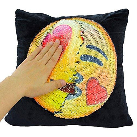 Image of Mermaid Sequin Pillow Case, SNUG STAR Reversible Emoji Cushion Cover Changeable Face Pillowcases DIY Decorative Pillowcase for Sofa Home Decor 16 X 16""