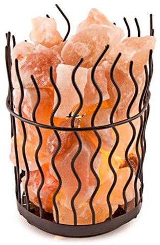 Image of Crystal Decor Natural Himalayan Salt Metal Basket Lamp with Dimmable Cord