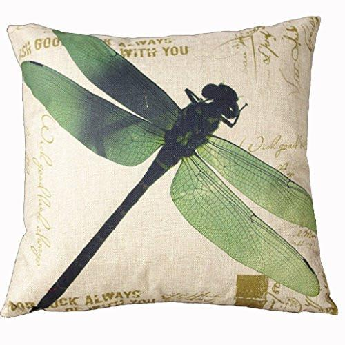 HomeTextilesArt 18 X 18 Inch Cotton Linen Retro Vintage Home Decorative Indoor/Outdoor Throw Cushion Cover / Pillow Sham Dragonfly - zingydecor
