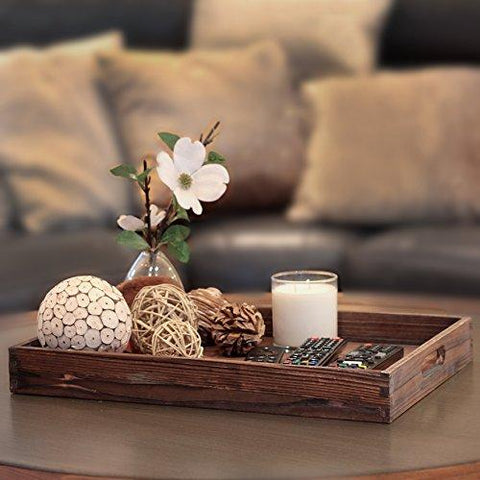 Image of Dark Brown Wooden Serving Tray - Handles for Easy Carrying, Transform Your Ottoman into a Coffee Table, Rustic Look Matches Home Decor, Room to Set Down Plates and Drinks