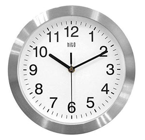 HITO Silent Non-ticking Wall Clock- Aluminum Frame Glass Cover, 10 inches (Silver) - zingydecor