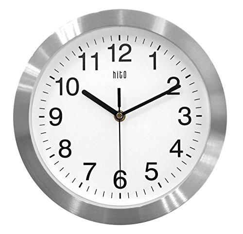 HITO Silent Non-ticking Wall Clock- Aluminum Frame Glass Cover, 10 inches (Silver)