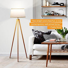Load image into Gallery viewer, Brightech Emma LED Tripod Floor Lamp– Modern Design Wood Mid Century Style Lighting for Contemporary Living or Family Rooms- Ambient Light Tall Standing Easel Survey Lamp for Bedroom, Office White - zingydecor