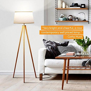 Brightech Emma LED Tripod Floor Lamp– Modern Design Wood Mid Century Style Lighting for Contemporary Living or Family Rooms- Ambient Light Tall Standing Easel Survey Lamp for Bedroom, Office White - zingydecor