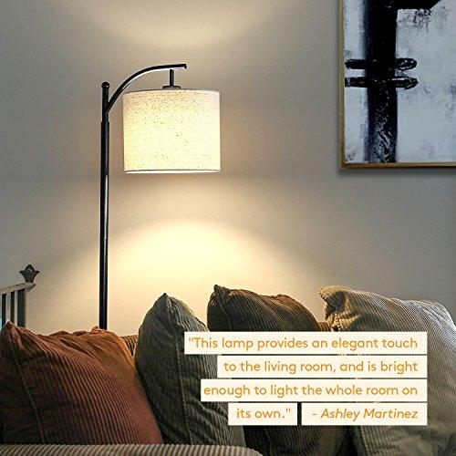 Brightech Montage LED Floor Lamp- Classic Arc Floor Lamp with Hanging Lamp Shade - Tall Industrial Uplight Lamp for Living Room, Family Room, Office or Bedroom, Energy Saving and Long Lasting- Black - zingydecor