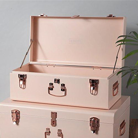 Superieur ... Beautify Blush Pink Vintage Style Steel Storage Trunk Set With Rose  Gold Handles   Dorm ...