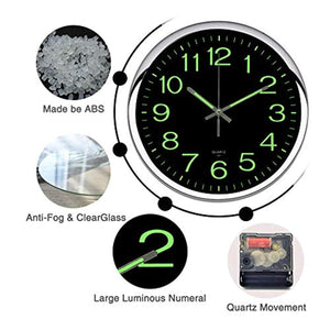 OCEST Wall Clock, 12 Inch Silent Non-Ticking Quartz Wall Clock with Night Light Large Display Battery Operated for Indoor Kitchen Office Bathroom Living Room Garage(Silver) - zingydecor