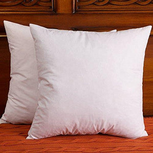 Set of 2, Down and Feather Pillow Insert, Cotton Fabric Throw Pillows - zingydecor