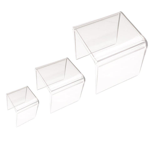 Image of Clear Acrylic Riser Stand Set of Three (3-Inch, 4-Inch, 5-Inch)