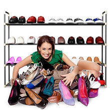 Load image into Gallery viewer, 4-Tier Shoe Rack Organizer Storage Bench - Holds 24 Pairs - Organize Your Closet Cabinet or Entryway - Easy to Assemble - No Tools Required - zingydecor