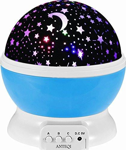 Sun And Star Lighting Lamp 4 LED Bead 360 Degree Romantic Room Rotating Cosmos Star Projector With 59 Inch USB Cable, Light Lamp Starry Moon Sky Night Projector Kid Bedroom Lamp for Christmas
