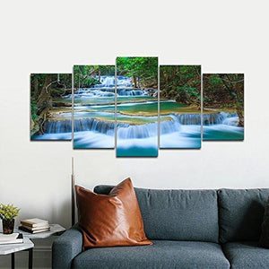 Peaceful Waterfall Modern 5 Piece Stretched and Framed Artwork Giclee Canvas Prints Green Landscape Pictures Paintings on Canvas Wall Art for Living Room Bedroom Home Decorations