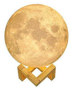Extra Large 7.3 Inch Gahaya Moon Lamp, 3D Printed Light, Touch Control, Stepless Dimmable, Warm White & Cool White, PLA material, USB Recharge - zingydecor