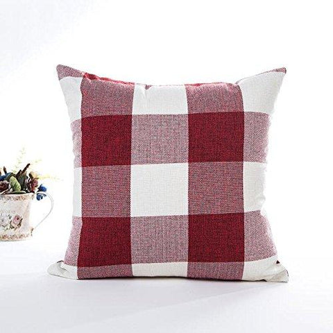 Image of Red White Christmas Buffalo Checkers Plaids Linen Square Throw Pillow Cover Decorative Cushion Shams Pillowcase Love Cushion Case for Sofa 18 x 18 Inch - zingydecor