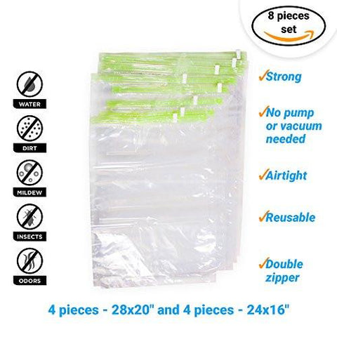 "Image of 8 Travel Storage Bags for Clothes - No Vacuum or Pump Needed -Reusable Space Saver Packing Sacks (4 items - 28x20"", 4 items - 24x16"") - Rolling Compression for Luggage - zingydecor"