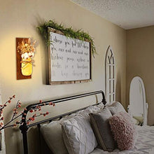 Load image into Gallery viewer, Mason Jar Sconces Wall Decor - Rustic Wall Sconces - Decorative Jars with Cotton Stems & Baby Breath Flower with Remote Timer LED Fairy Lights for Kitchen Home Décor Living Room Wall Lights Set of 2 - zingydecor