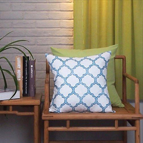 Image of Phantoscope New Living Blue & Green Decorative Throw Pillow Case Set of 4 - zingydecor