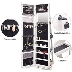 TWING Jewelry Organizer Jewelry Cabinet 360 Rotating, Lockable Standing Wall Jewelry Armoire with Full Length Mirror White (White)