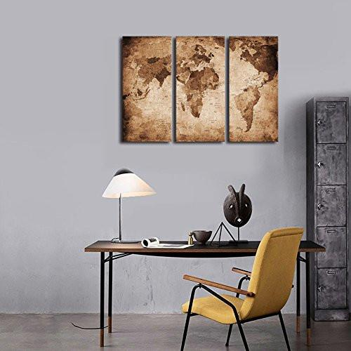 Wall Art Canvas Prints Vintage World Map Painting Ready To Hang 3 Pieces Large Framed Canvas Art Retro Antiquated Map Of The World Painting Abstract