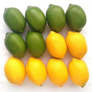 Gresorth 12pcs Yellow & Green Artificial Lifelike Simulation Lemon Fake Fruit Home Kitchen Cabinet Decoration - zingydecor
