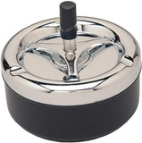 Round Push Down Ashtray with Spinning Tray Black