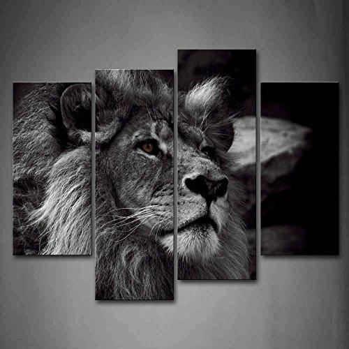 Black And White Gray Lion Head Portrait Wall Art Painting Pictures Print On Canvas Animal The Picture For Home Modern Decoration - zingydecor