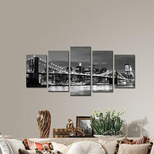 Load image into Gallery viewer, Wieco Art - Broooklyn Bridge Night View 5 Panels Modern Landscape Artwork Canvas Prints Abstract Pictures Sensation to Photo Paintings on Canvas Wall Art for Home Decorations Wall Decor - zingydecor