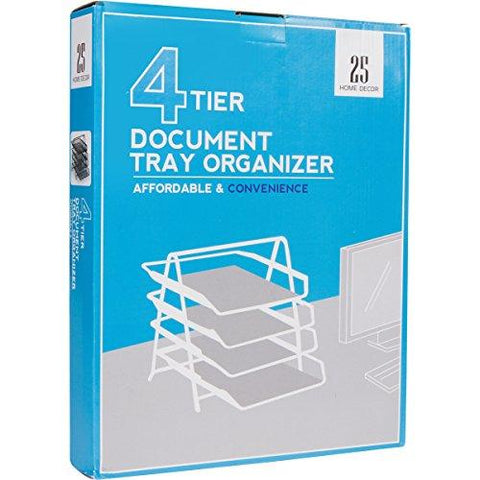 Image of 4-Letter Tray Office Desk Organizer, Black