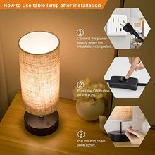 Load image into Gallery viewer, Lifeholder Table Lamp, Bedside Nightstand Lamp, Simple Desk Lamp, Fabric Wooden Table Lamp for Bedroom Living Room Office Study, Cylinder Black Base - zingydecor
