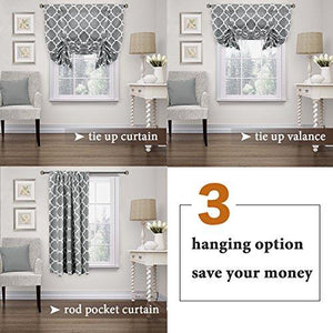 Thermal Insulated Grey Blackout Curtain - Tie Up Shade for Small Window ( Rod Pocket Panel, 42