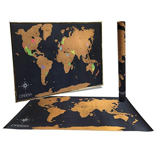 "Deluxe Scratch Off World Map - Includes Precision Scratch Off Tool and Gift Ready Packaging - Scratch Off World Travel Tracker Map - 24x36"" Size Fits Common Poster Frames"