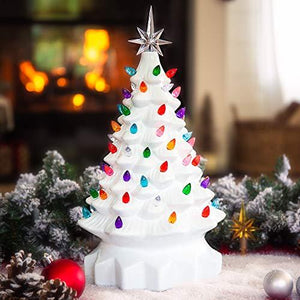 15in Ceramic Pre-Lit Hand-Painted Tabletop Christmas Tree Holiday Decor with 64 Multicolored Lights, 2 Star Toppers, Green - zingydecor