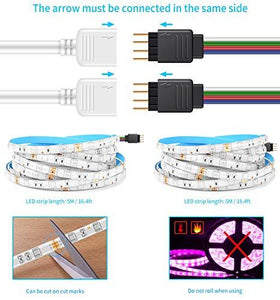 MINGER LED Strip Light Waterproof 16.4ft RGB SMD 5050 LED Rope Lighting Color Changing Full Kit with 44-keys IR Remote Controller, Power Supply Led Strip Lights for Home Kitchen Bed Room Decoration - zingydecor
